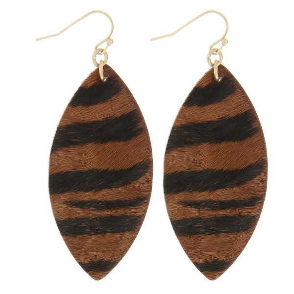 "Cowhide zebra print drop earrings.  - Approximately 2.5"" in length"