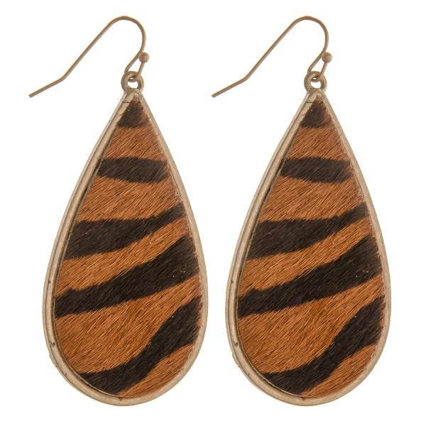 """Faux fur animal print teardrop earrings.  - Approximately 2.5"""" in length"""