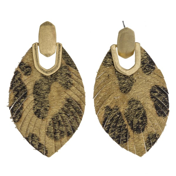 "Leopard print faux fur feather drop earrings. Approximately 2.5"" in length."
