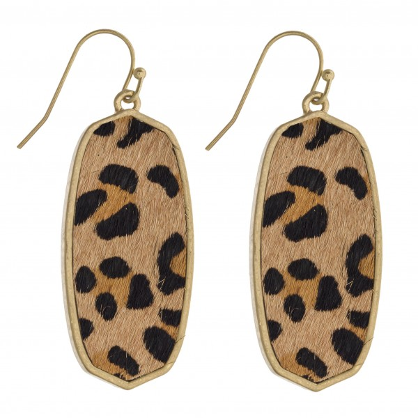 "Leopard print cowhide encased drop earrings.   - Approximately 1.75"" in length"