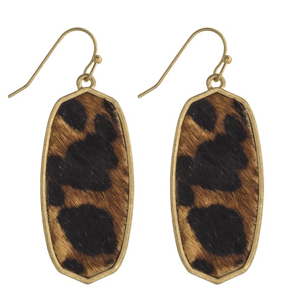 "Leopard print cowhide encased drop earrings.   - Approximately 1.75"" in length"