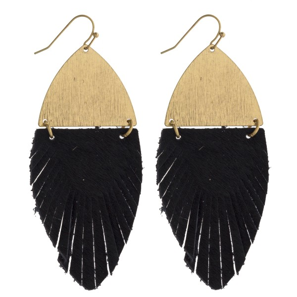 "Faux fur feather linked drop earrings. Approximately 3"" in length."