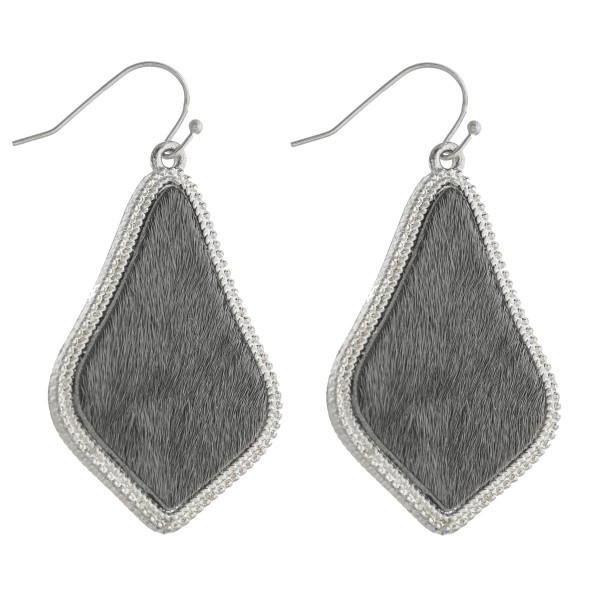 "Cowhide encased arabesque drop earrings.   - Approximately 2"" in length"