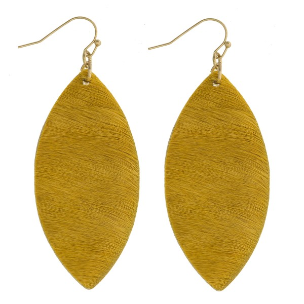 "Cowhide finish pointed oval drop earrings. Approximately 2.5"" in length."