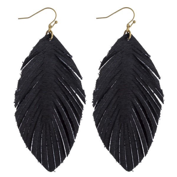 """Faux fur feather drop earrings. Approximately 3.5"""" in length."""