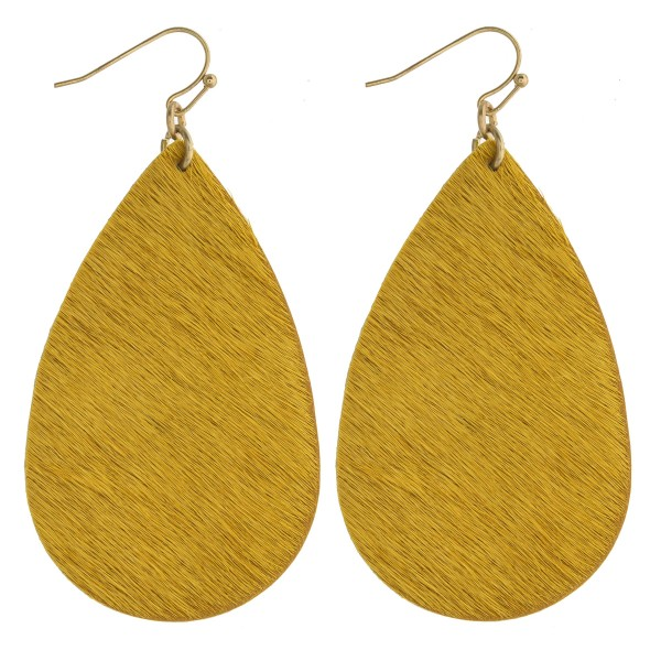 "Faux fur teardrop earrings. Approximately 2.5"" in length."