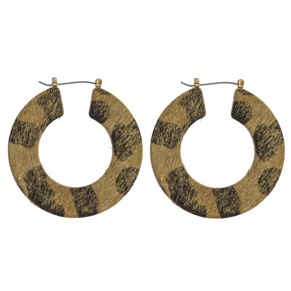 "Leopard print cowhide flat pin catch hoop earrings.   - Approximately 2"" in diameter"