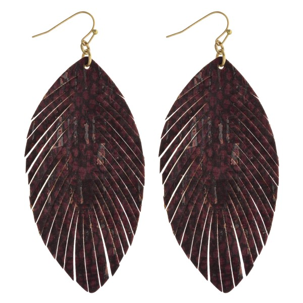 """Faux leather snakeskin feather drop earrings. Approximately 3.5"""" in length."""