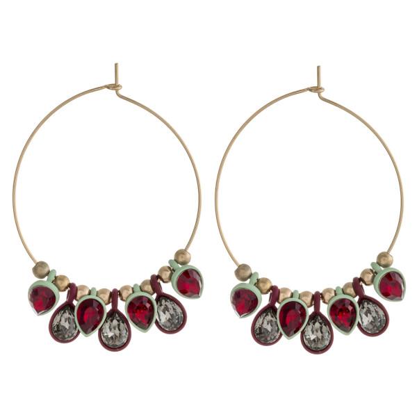 """Rhinestone encased teardrop beaded hoop earrings. Approximately 2.25"""" in length."""