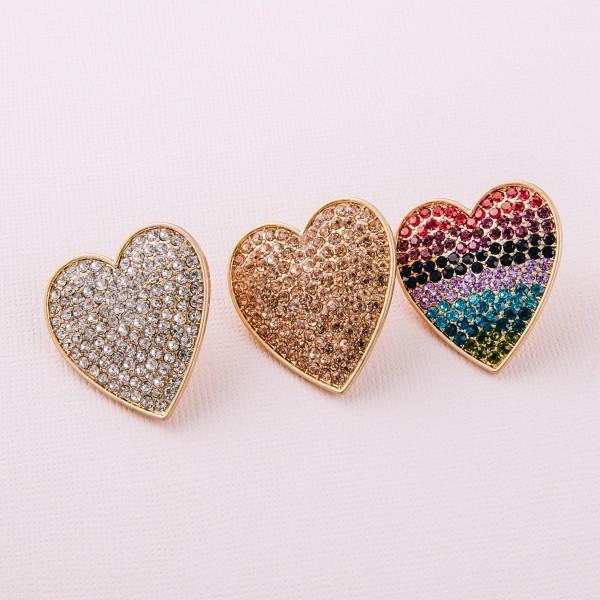 """Heavyweight rhinestone heart stud earrings. Approximately 1.25"""" in length."""