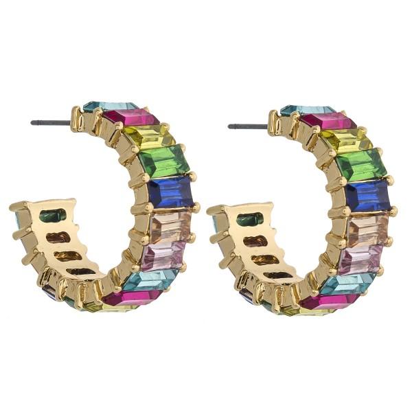 """Rhinestone encased open hoop earrings. Approximately 1"""" in diameter."""