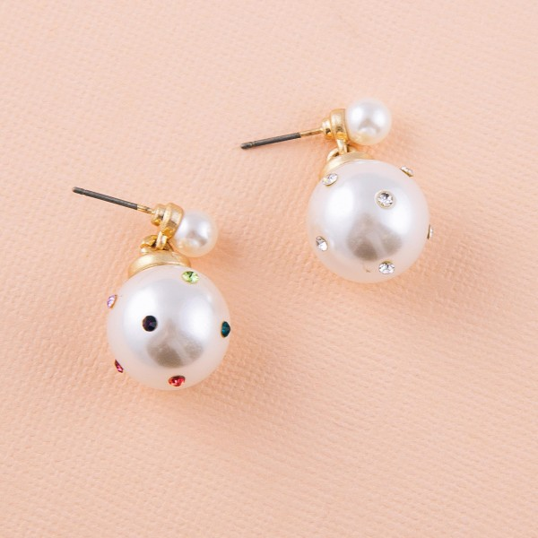 "Rhinestone studded pearl drop earrings. Approximately 1"" in length."