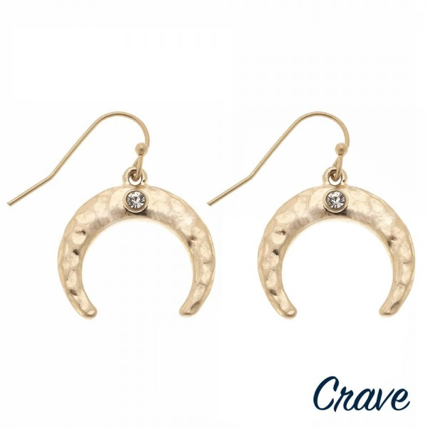 """Hammered crescent rhinestone dangle earrings. Approximately 1"""" in diameter."""