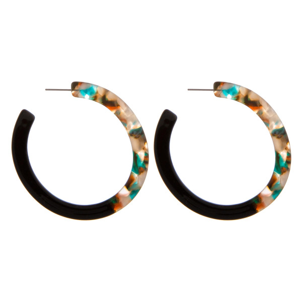 """Resin marble color block open hoop earrings. Approximately 2.5"""" in diameter."""