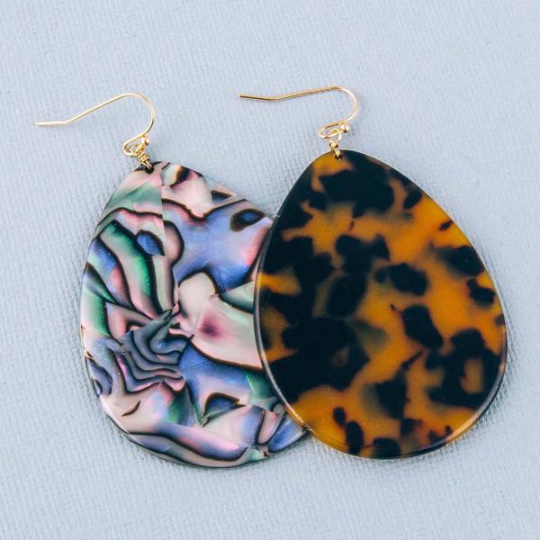 """Tortoise shell teardrop earrings. Approximately 3"""" in length."""
