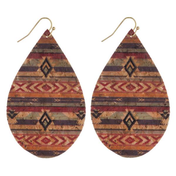 """Thin cork tribal print teardrop earrings. Approximately 3"""" in length."""
