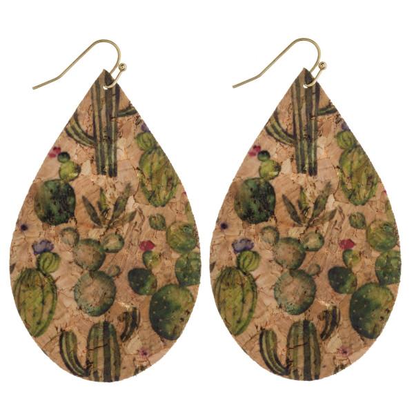 "Thin cork western cactus print teardrop earrings. Approximately 3"" in length."