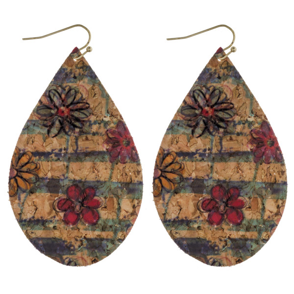 """Thin cork flower print teardrop earrings. Approximately 3"""" in length."""