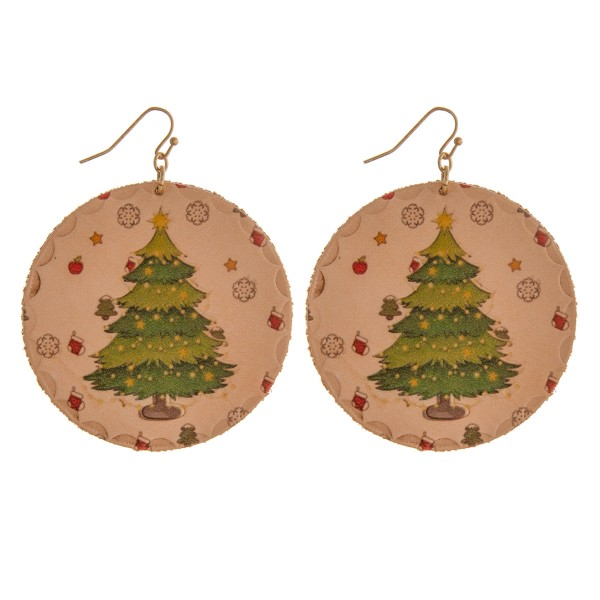 """High quality faux leather Christmas tree disc earrings.  - Approximately 3"""" in length and 2"""" in diameter"""