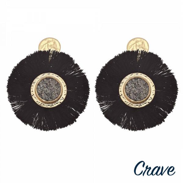 "Round metal encased druzy tassel dangle earrings. Approximately 2"" in length."