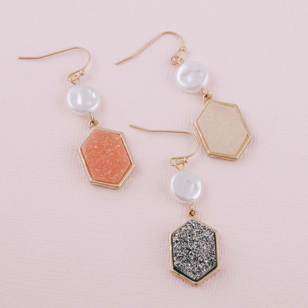 """Metal encased druzy dangle earrings with pearl accents. Approximately 1.5"""" in length."""