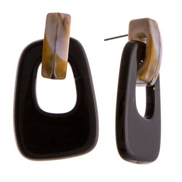 """Two tone resin dangle stud earrings. Approximately 2"""" in length."""