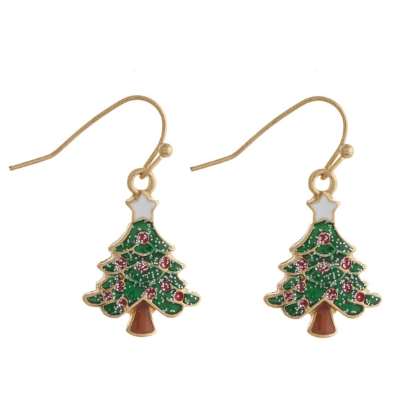 "Enamel coated Christmas tree dangle earrings. Approximately .75"" in length."