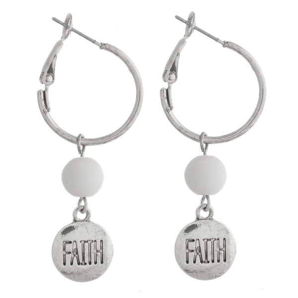 "Silver natural stone ""Faith"" engraved dangle hoop earrings. Approximately 1.5"" in length."