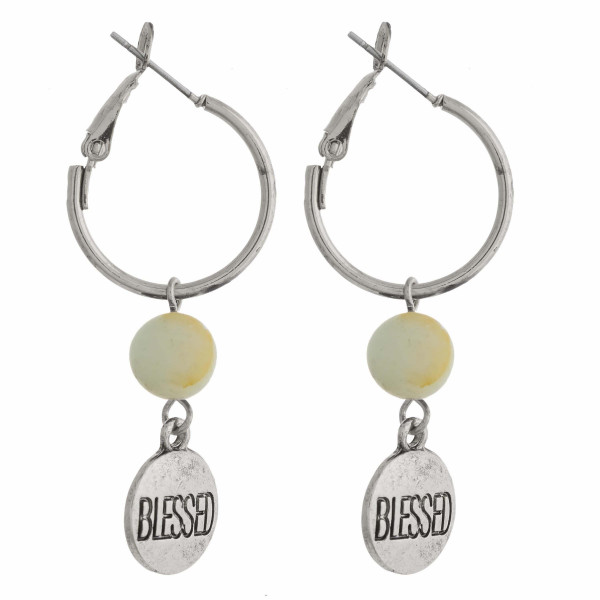 "Silver natural stone ""Blessed"" engraved dangle hoop earrings. Approximately 1.5"" in length."