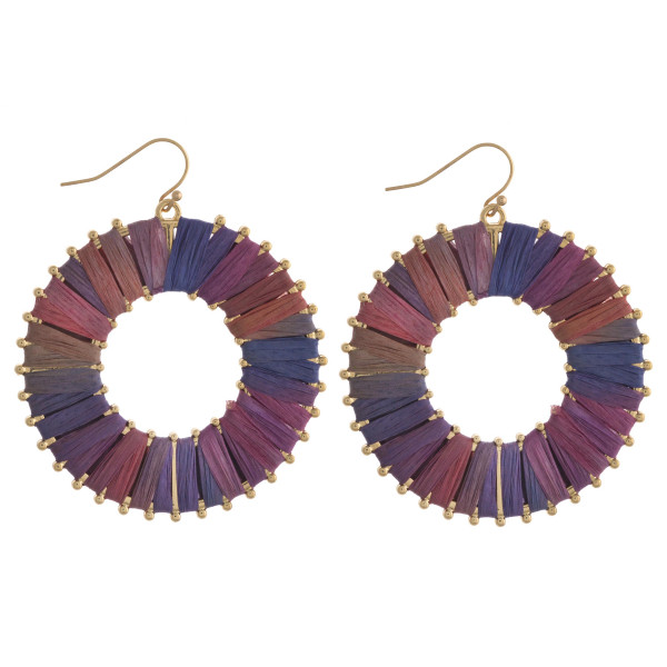 "Multicolor raffia wrapped dangle earrings. Approximately 2"" in diameter."