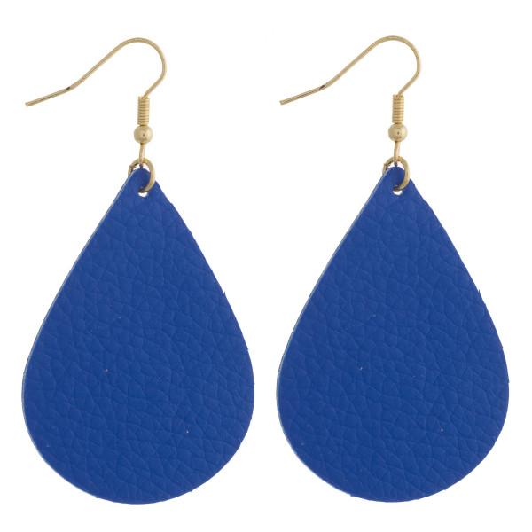"""Faux leather teardrop earrings. Approximately 2.5"""" in length."""