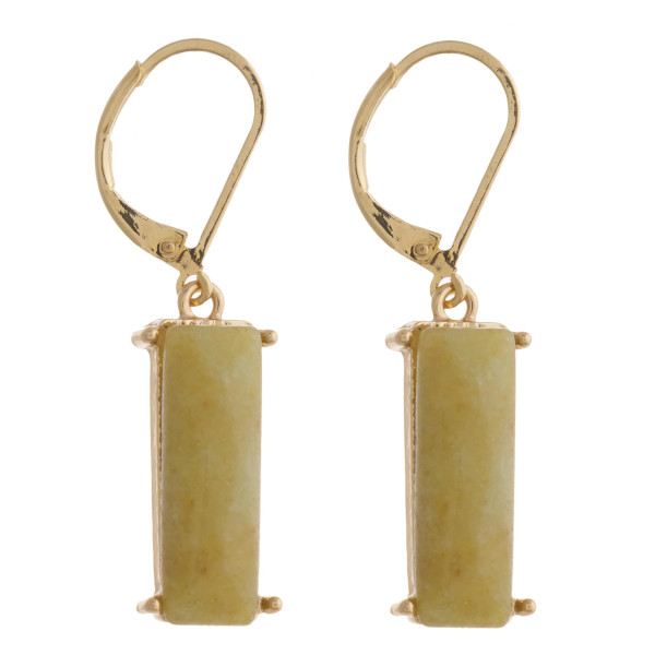 """Natural stone bar dangle lever back earrings. Approximately 1.5"""" in length."""
