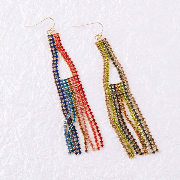 "Multicolor cubic zirconia triangle tassel earrings. Approximately 3.5"" in length."