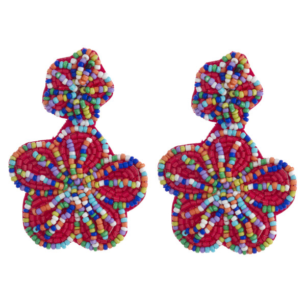 "Seed beaded felt flower dangle earrings. Approximately 3"" in length."