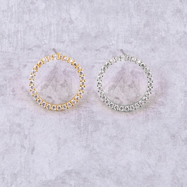 "Cubic zirconia open circle stud earrings. Approximately .75"" in diameter."