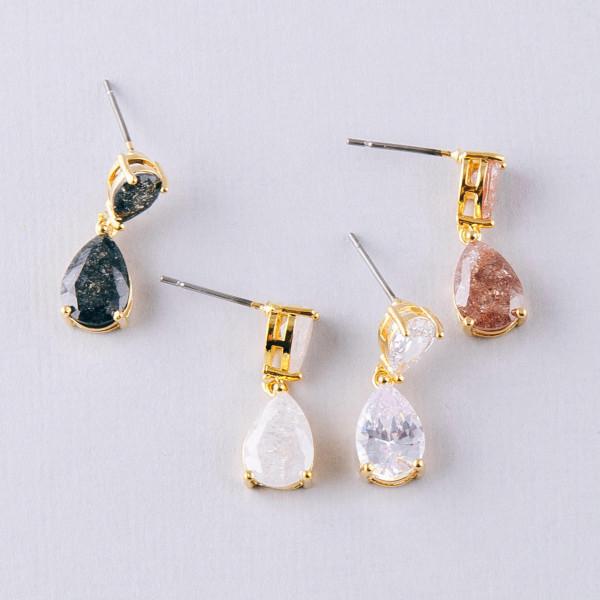 """Cubic zirconia teardrop drop earrings. Approximately .75"""" in length."""