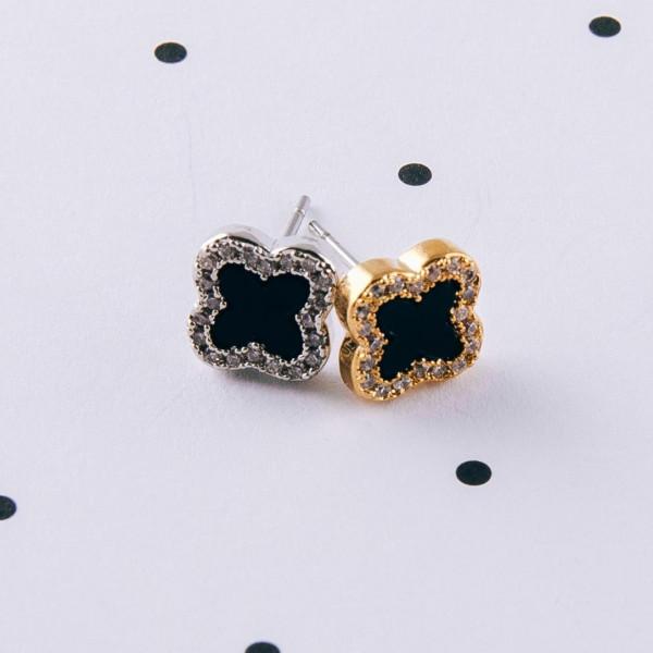Dainty cubic zirconia clover stud earrings. Approximately .5cm in size.