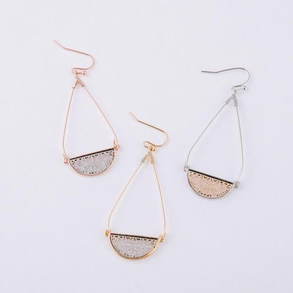 """Two tone filigree teardrop earrings. Approximately 2"""" in length."""