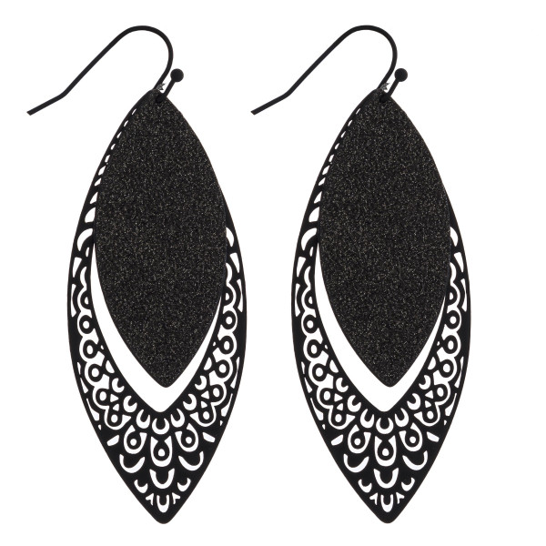 "Glittery filigree cut out dangle earrings. Approximately 2.5"" in length."