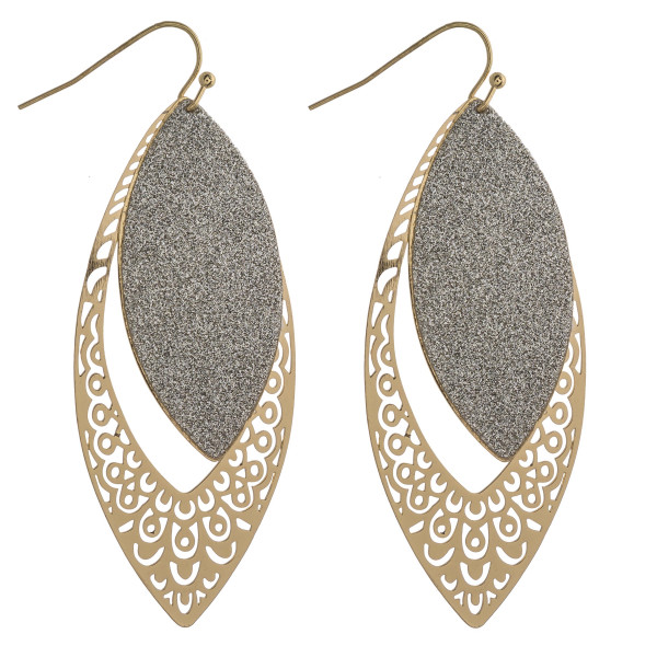 "Two tone glittery filigree cut out dangle earrings. Approximately 2.5"" in length."
