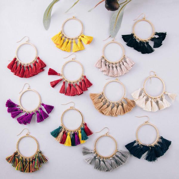 """Textured round fan tassel dangle earrings. Approximately 2.5"""" in length."""