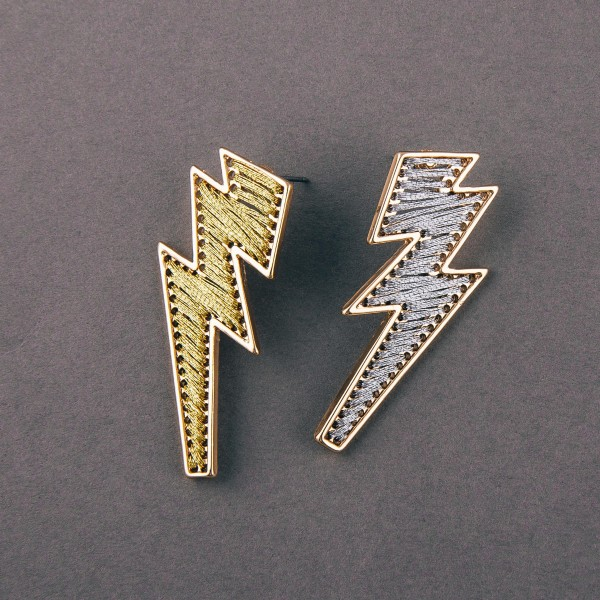 """Thread wrapped lightning bolt drop earrings. Approximately 1.75"""" in length."""