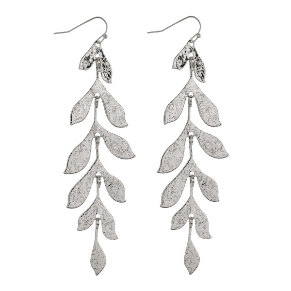 "Textured metal leaf drop earrings. Approximately 4"" in length."