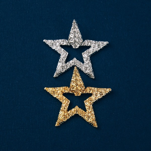 "Metal tone crinkled textured star earrings. Approximately 1.75"" in length."