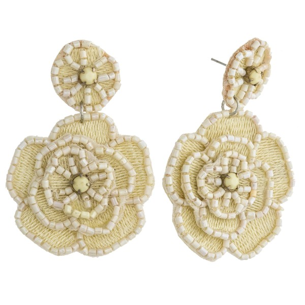 Wholesale seed beaded felt flower blossom drop earrings