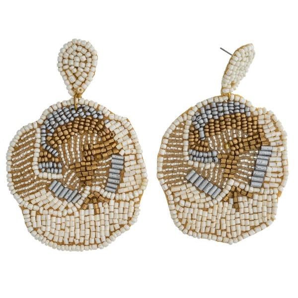 """Seed beaded flower felt boho drop earrings. Approximately 3.5"""" in length."""