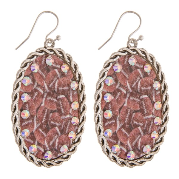 """Faux leather football printed rhinestone metal drop earrings.   - Approximately 2.5"""" in length"""