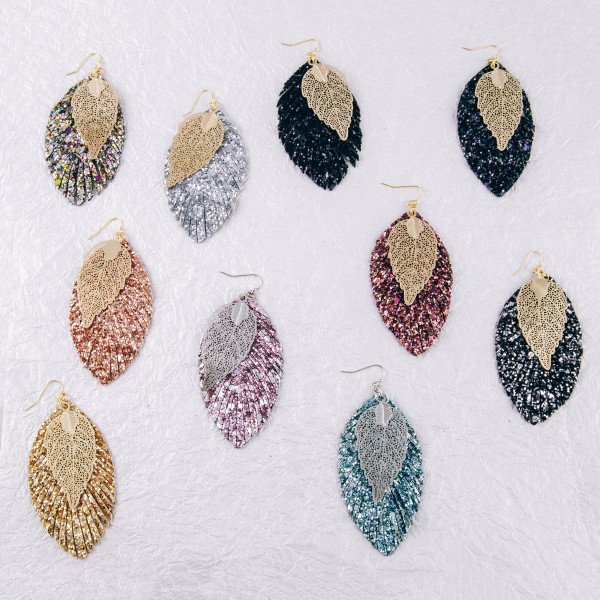 """Filigree leaf glittery feather drop earrings. Approximately 3.5"""" in length."""