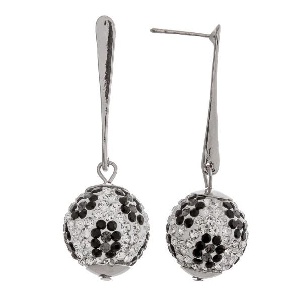 "Rhinestone studded leopard print ball drop bar earrings. Approximately 2"" in length."