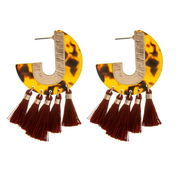 "Resin tortoise shell J hoop tassel earrings.  - Approximately 2"" in length"